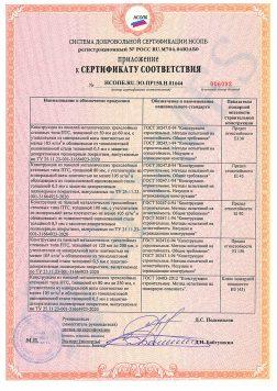 Приложение к пожарному сертификату соответствия на стеновые сэндвич панели из минеральной ваты