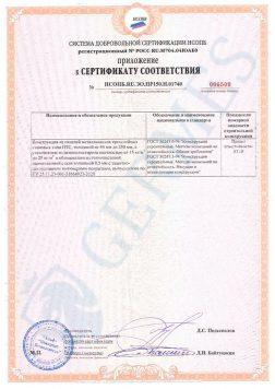 Приложение к пожарному сертификату соответствия на стеновые сэндвич панели из пенопласта